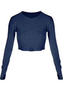 Blusa Cropped Outletdri Detalhe Punho Azul Marinho