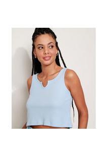 Camiseta Feminina Básica Cropped Manga Curta Decote V Azul Claro