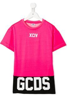 Gcds Kids Vestido Reto Com Logo - Rosa