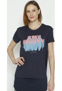 """Camiseta """"Stay Groovy""""- Azul Marinho & Rosa- Sommersommer"""