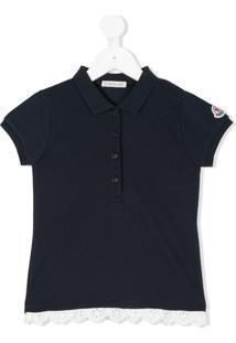 Moncler Kids Camisa Polo Com Acabamento De Bordado Inglês - Azul