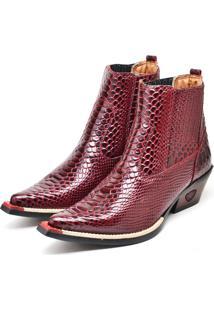 Bota Botina Texana Em Couro Doc Shoes Vinho - Kanui