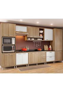 Cozinha Compacta 9 Peças Com Tampo 5833-S16T - Sicília - Multimóveis - Argila Acetinado / Branco Acetinado