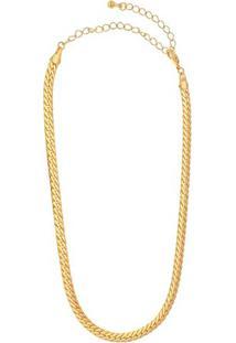 Colar Banhado A Ouro Com Relevo- Dourado- 38Cm- Carolina Alcaide