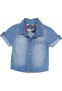Camisa Jeans Manga Curta Mister Boy Azul