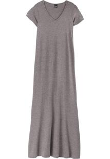 Vestido Cinza Claro Longo Em Viscose