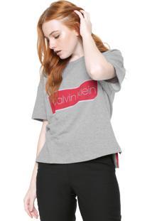 Camiseta Calvin Klein Estampada Cinza