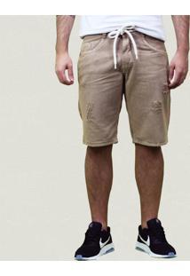 Bermuda Sarja Rasgada E Cordão Fashion Bege Claro- Masculino