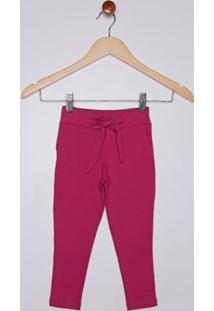 Calça Cotton Infantil Para Menina - Rosa Pink