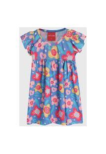 Vestido Manga Curta Tricae Infantil Floral Azul/Rosa