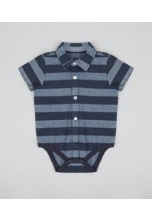 Body Camisa Infantil Listrado Manga Curta Azul