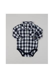 Body Camisa De Flanela Infantil Estampado Xadrez Manga Longa Preto