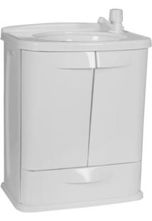 Gabinete Para Banheiro Em Plástico Com Lavatório Fit Astra Sem Torneira Branco