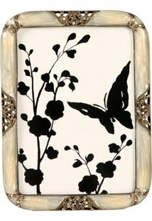 Porta-Retrato De Metal Com Strass Nature