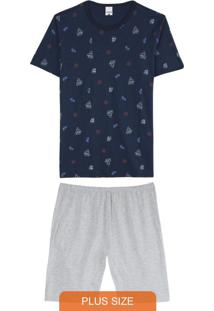 Pijama Marinho Náutico Masculino Plus