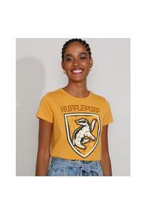 Camiseta Feminina Manga Curta Harry Potter Lufa-Lufa Decote Redondo Mostarda