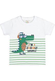 Camiseta Infantil Pulla Bulla Meia Malha Masculino - Masculino-Branco
