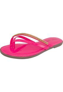 Rasteira Strass Lúcia Torsatto Calçados Bico Redondo Neon Pink