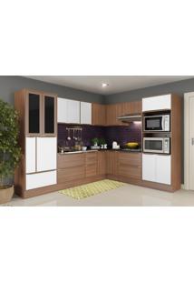 Cozinha Completa Multimã³Veis Com 13 Peã§As Calã¡Bria 5461R Nogueira/Branco - Incolor/Marrom - Dafiti