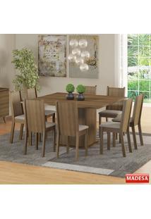 Mesa De Jantar 8 Lugares Clarice Rustic/Pérola - Madesa Móveis
