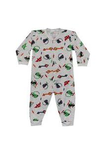 Pijama Macacáo Menino Dinossauros Dadomile Multicolorido