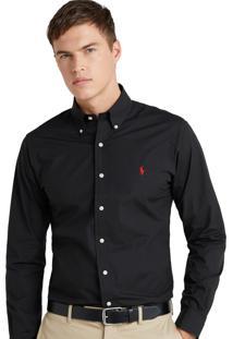 Camisa Ralph Lauren Masculina Custom Fit Classic Preta