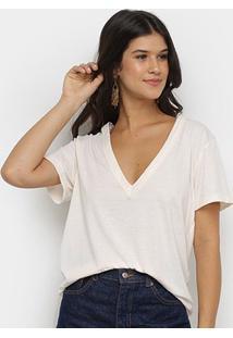 Camiseta Colcci Gola V Manga Curta Feminina - Feminino-Creme