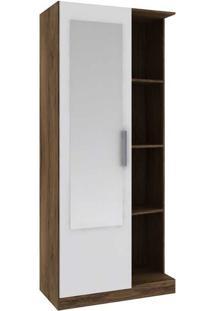 Armário Multiuso 1 Porta Com Espelho Mu1004 – Rodial - Cacau / Branco