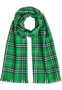 Burberry Cachecol Xadrez De Cashmere - Verde