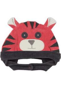 Touca Bebê Ano Zero Tigre Masculina - Masculino-Vermelho
