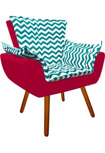 Poltrona Decorativa Opala Suede Composê Estampado Zig Zag Verde Tiffany D78 E Suede Vermelho - D'Rossi