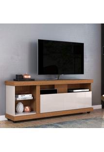 Rack Bancada Para Tv Até 70 Polegadas 1 Porta 4 Nichos Ilhabela Colibri Natura Real/Off White