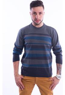 Blusa G'Dom Design Azul E Cinza
