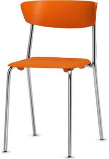 Cadeira Bit Assento Laranja Base Cromada - 53667 Sun House