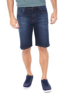 Bermuda Jeans Polo Wear Reta Estonada Azul