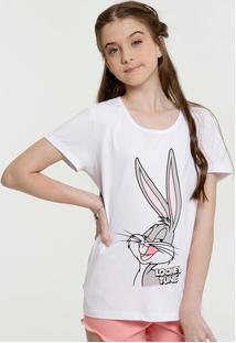 Blusa Juvenil Estampa Pernalonga Manga Curta Looney Tunes