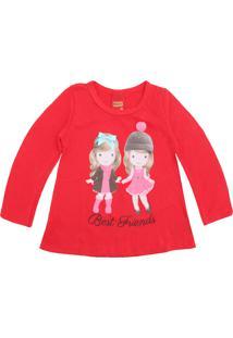 Camiseta Kyly Menina Estampa Frontal Vermelha