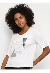 T-Shirt Morena Rosa Decote Redondo Com Silk Feminina - Feminino