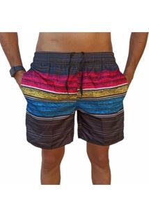 Bermuda Short Listrado Colorido Moda Praia Relaxado Estampado - Roxo - Masculino - Poliã©Ster - Dafiti