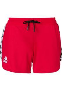 Kappa Bermuda Esportiva Com Listras Lateral E Logo - Vermelho