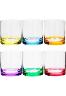 Conjunto 6 Copos De Cristal 310 Ml Set-Bar Favorit - Bohemia - Colorido