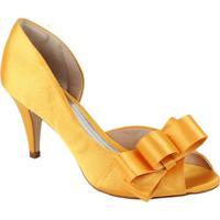 454a8e7da1 Peep Toe Toda Em Cetim Com Detalhe Em Laço Spaço Criativo - Feminino-Amarelo