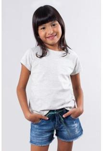 Camiseta Basica Lisa Reserva Mini Feminina - Feminino-Cinza Claro