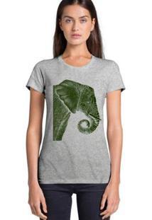 Camiseta Joss Básica Elefante De Lado Feminina - Feminino