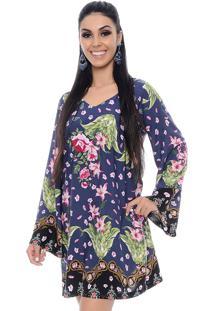 Vestido Curto B'Bonnie Manga Flare Talya Azul Floral