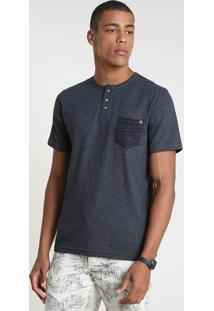 Camiseta Masculina Com Bolso Manga Curta Gola Portuguesa Cinza Mescla Escuro