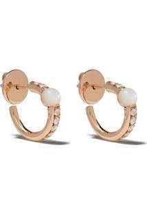 Pomellato Par De Brincos Em Ouro Rosé 18K Com Madre Pérola E Diamante - White