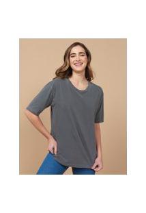 Amaro Feminino T-Shirt Oversized Estonada Gola Redonda, Chumbo