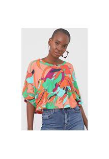 Camiseta Forum Floral Laranja/Verde