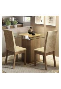 Conjunto Sala De Jantar Madesa Cau Mesa Tampo De Vidro Com 2 Cadeiras Rustic/Imperial
